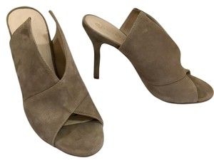 Trina Turk Laguna Suede Leather Mule Peep Toe Taupe (Slate) Pumps