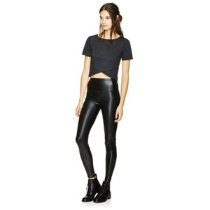 Aritzia Vegan Leather Faux Leather High Rise Stretch Shiny Black Leggings