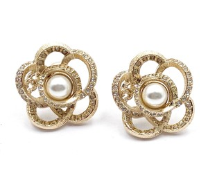 Chanel Chanel Gold CC Camellia Crystal Pearl Piercing Earrings