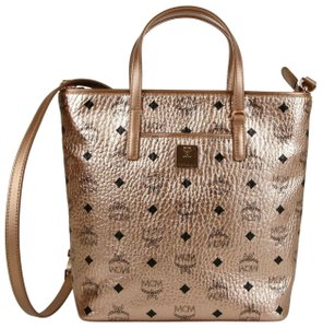 MCM Metallic Coated Canvas Small Tote in Champagne Gold
