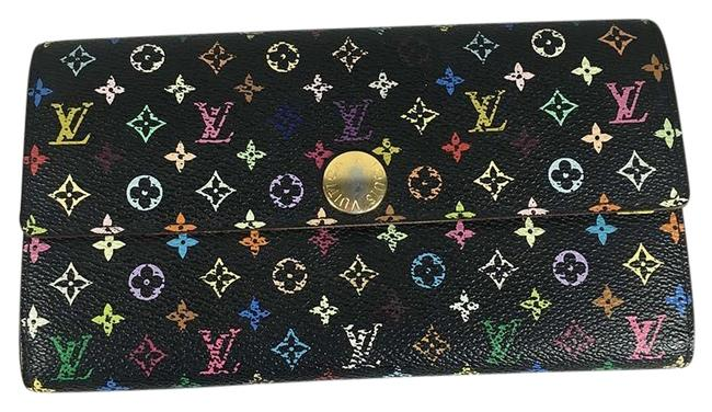 Louis Vuitton Multicolor Long Clutch Sarah Black Canvas Wallet Louis Vuitton Multicolor Long Clutch Sarah Black Canvas Wallet Image 1