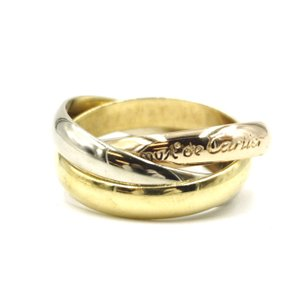 Cartier 18K 750 Trinity white gold yellow rose pink gold ring size 50 4.5