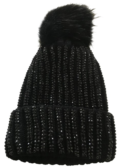 Item - Black Ribbed Knit Pom Pom Hat
