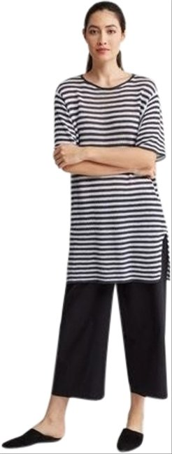 Item - Graphite and White Striped Organic Linen Tunic Size 10 (M)