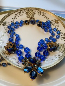 Miriam Haskell Miriam Haskell Royal Blue Parure (Signed Miriam Haskell)