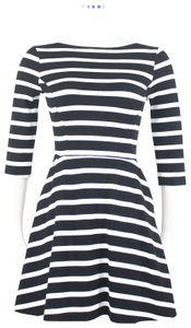 Three Dots Striped Classic Nautical French Fit Flare Dress