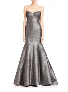 Monique Lhuillier Mermaid Gown Metallic Fitted Strapless Dress