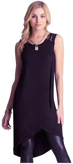 Item - Black Jersey Hi-low Tunic Mid-length Night Out Dress Size 4 (S)