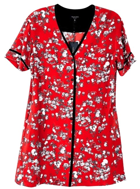 Item - Red Garden Floral Short Casual Dress Size 2 (XS)