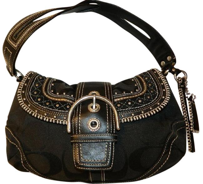Item - Soho Vintage Limited Edition Stud Flap Black / Silver Jacquard/Leather/Suede Hobo Bag