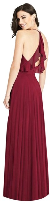Item - Burgundy 3021 Ruffle Strap Chiffon Gown Long Formal Dress Size 12 (L)