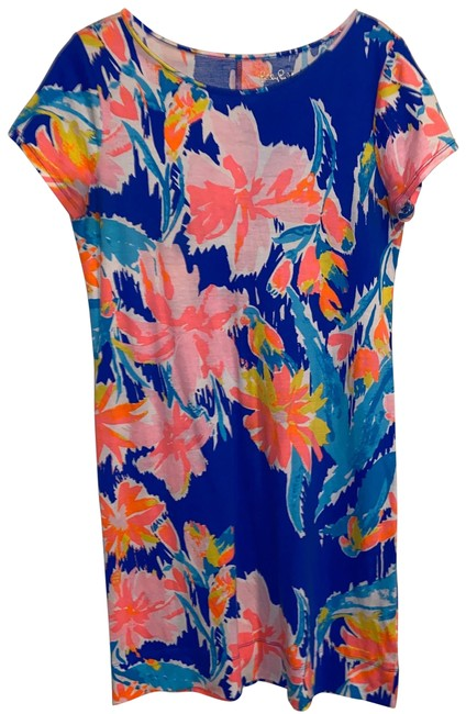 Item - Multi-color Blue Pink White Orange Yellow Mid-length Short Casual Dress Size 4 (S)