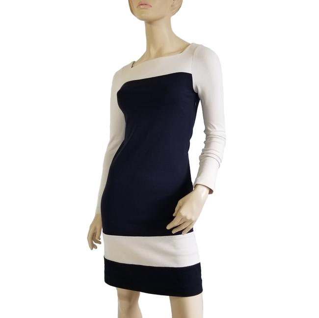 Item - Navy and Ivory Colorblock Stretch Knit Sheath Mid-length Short Casual Dress Size 4 (S)