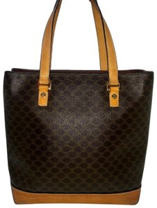Céline Tote in Brown Macadam Canvas & Natural Leather