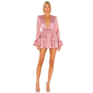 Michael Costello Mauve Satin Ruffle Elastic Cuffs Dress