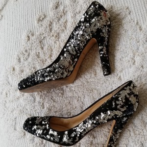 Kate Spade Black and Silver (Red Trinity On Sequins In Some Pics Is Simply A Reflection From Another Item In The Room) Unknown Pumps Size US Regular (M, B)