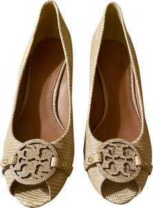 Tory Burch Open Toe Leather Trench Tan Wedges