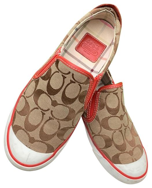 Item - Tan with Red/Orange Accents Sneakers Size US 7 Regular (M, B)