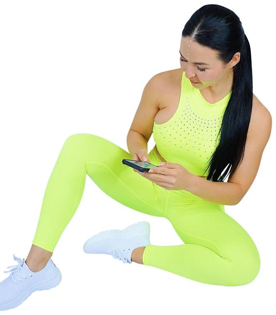 Item - Green Neon Women's 2 Piece Outfits Crystal Leggings Bra Yoga Set Gym Fitness Workout Activewear Sportswear Size 4 (S, 27)