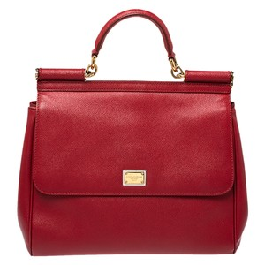 Dolce&Gabbana Leather Fabric Red Clutch