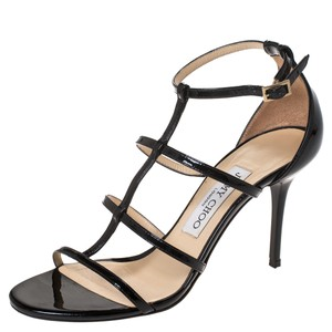 Jimmy Choo Patent Leather Leather Black Sandals