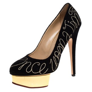 Charlotte Olympia Embroidered Platform Leather Black Pumps