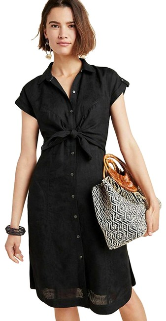 Item - New Black Kamryn Button Down Tie Waist Midi Shirtdress Mid-length Short Casual Dress Size 2 (XS)