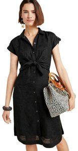 Anthropologie short dress New Black Cuffed Sleeves Rayon Linen Chic on Tradesy