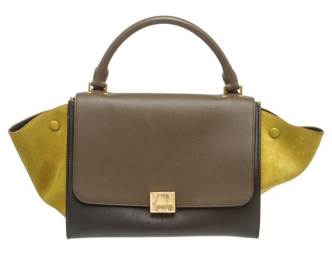 Item - Trapeze 497993 Taupe Tricolor and Suede Small Green Leather Tote