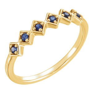 Yellow Blue Sapphire Stackable Ring Women's Wedding Band