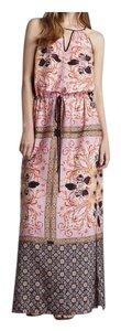 Pink Maxi Dress by Clover Canyon Drawstring Waist Side Slit Keyhole Floral Scarf Print