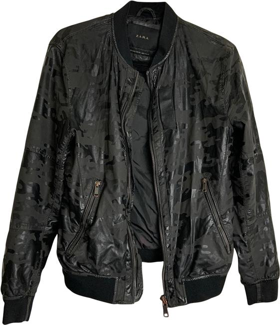 Item - Black/Grey Wos Sm Shiny Pleather Army Print Jacket Size 6 (S)
