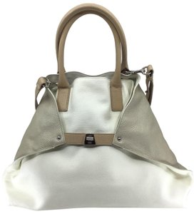 Akris Tote in Ivory/ Sand/ Taupe