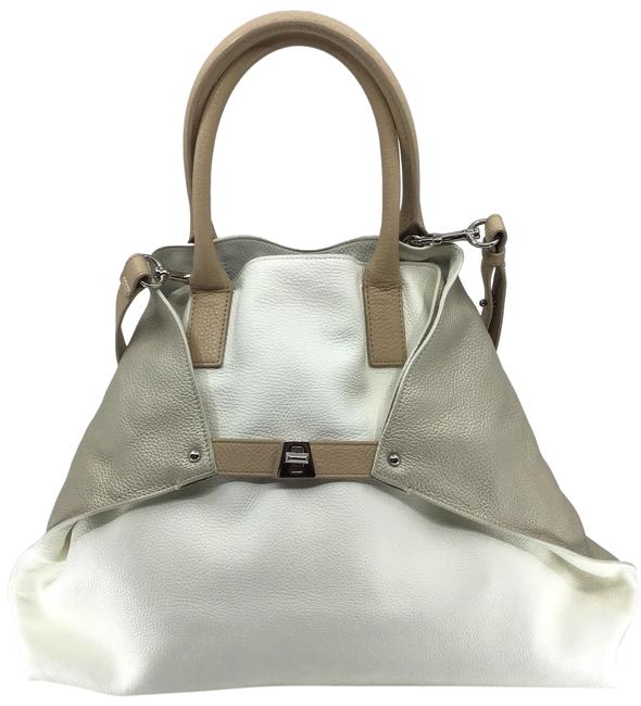 Item - Ivory/Sand/Taupe Signature Trapezoid Ivory/ Sand/ Taupe Calfskin Leather Tote