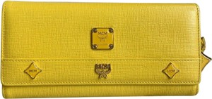 MCM Saffiano Leather Studded Long Tri-fold Wallet W/ MCM Charms