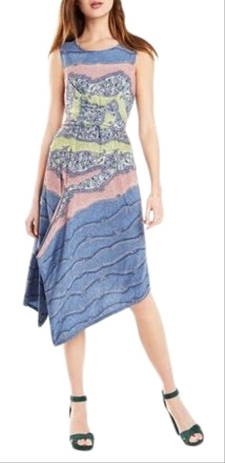 Item - Blue Green Pink Ezra Asymmetrical Mid-length Night Out Dress Size 8 (M)