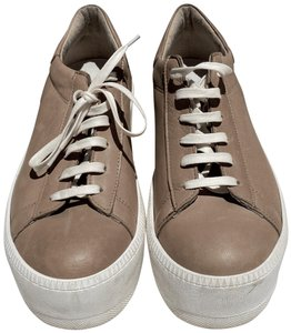 Barneys New York Leather White Laces Nude Platforms