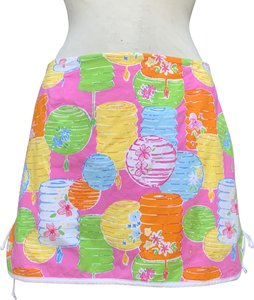 """Lilly Pulitzer 97% Cotton 3% Spandex Waist 29"""" Length @ Rear 14.5"""" Mini Skirt Multicolored"""