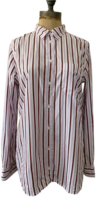 Item - Red Brown Pink Pre-owned Women's Classic-fit Boy Shirt In Trifecta Stripe Button-down Top Size 6 (S)