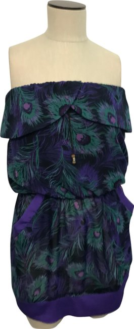 Item - Purple Peacock Feather Print Off The Shoulder Short Night Out Dress Size 8 (M)