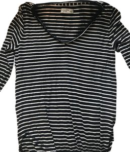 Abercrombie & Fitch Longsleeve Striped Top Navy and White