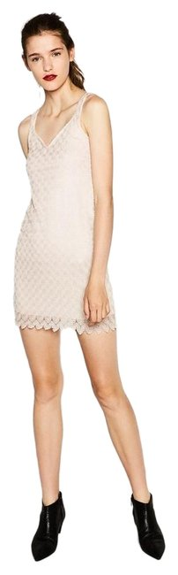 Item - Pale Pink Crochet Lace Fully Lined New Mini Short Cocktail Dress Size 8 (M)
