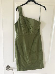 J.Crew Green Raw Silk One Shoulder Traditional Bridesmaid/Mob Dress Size 6 (S)