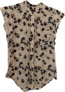 Rebecca Taylor Top cream with navy, pink flowers