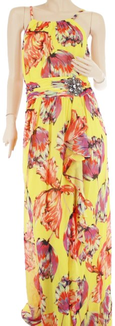 Item - Yellow Red Floral Sunshine Combo Print Multi Maxi Long Cocktail Dress Size 8 (M)