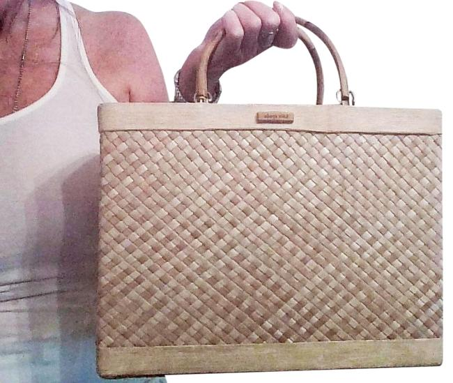 Item - W Vintage Quinn W/Bamboo Handles Natural Straw Tote