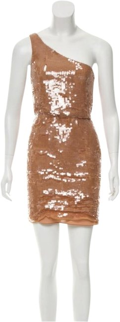 Item - Tan One-shoulder Short Cocktail Dress Size 2 (XS)