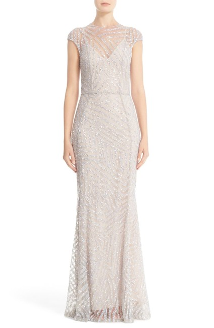 Item - Cap Sleeve Hand-embellished Mermaid Gown Long Formal Dress Size 4 (S)