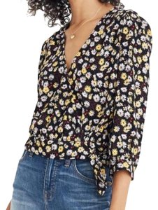 Madewell Floral Wrap Top Black, Yellow, White
