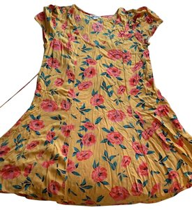Billabong short dress Yellow with coral flowers on Tradesy